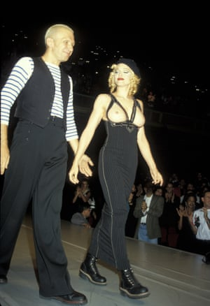 Topless with Jean Paul Gaultier at his 1992 American Foundation for Aids Research benefit.