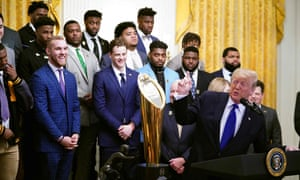 US President Donald Trump takes part in an event honoring the 2019 College Football National Champions, the Louisiana State University Tigers, in the East Room of the White House in Washington DC