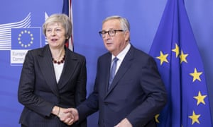 Jean-Claude Juncker, president of the European commission, greeting Theresa May in Brussels this afternoon.