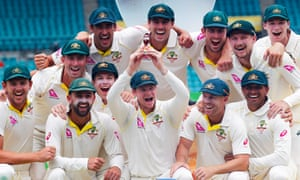 Steve Smith and teammates celebrate winning the Ashes at the Sydney Cricket Ground in January 2018