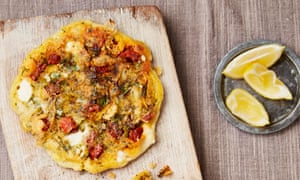 Yotam Ottolenghi's cheese, chorizo and spring onion pancakes.