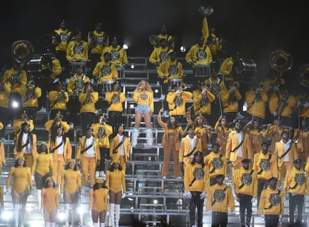 Beyoncé's marching band all wearing berets.