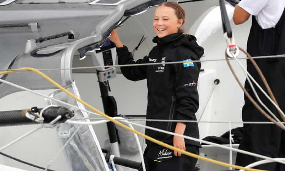 Greta Thunberg sailing to attend a United Nations summit on climate change in New York in August