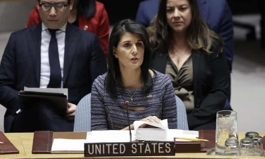 Nikki Haley at United Nations headquarters on 22 December 2017.