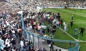 Fans being allowed on to the pitch as the Hillsborough tragedy unfolded.