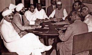 The seven Indian political leaders accept the plan for the transfer of power, 3 June 1947.
