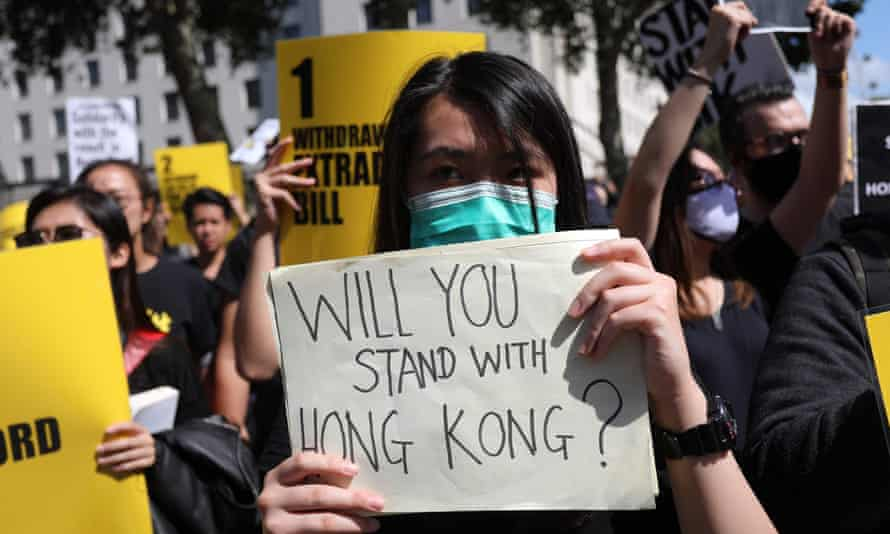 Protesters in London demonstrate in solidarity with Hong Kong pro-democracy activists.