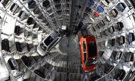A VW Passat and a VW Golf are pictured Volkswagen's assembly plant in Wolfsburg.