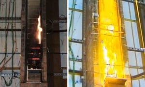 An image released by Association of British Insurers shows a fire test on the right in which there is a void as might exist with cladding, and one on left in which a fire started at the bottom of an open faced column.