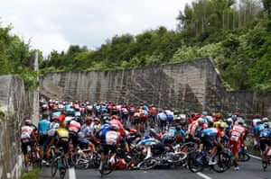 A crash during stage six of the Giro d'Italia
