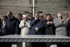 Members of the Arab-Turkish Media Association and friends attend funeral prayers in Istanbul