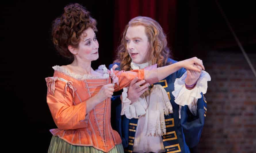 Alexandra Gilbreath as Lady Brute and Rufus Hound Constant in The Provoked Wife.