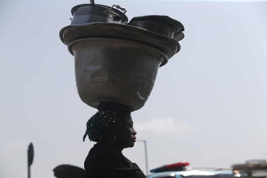 A food vendor at the International Women's Day celebration in Lagos, Nigeria