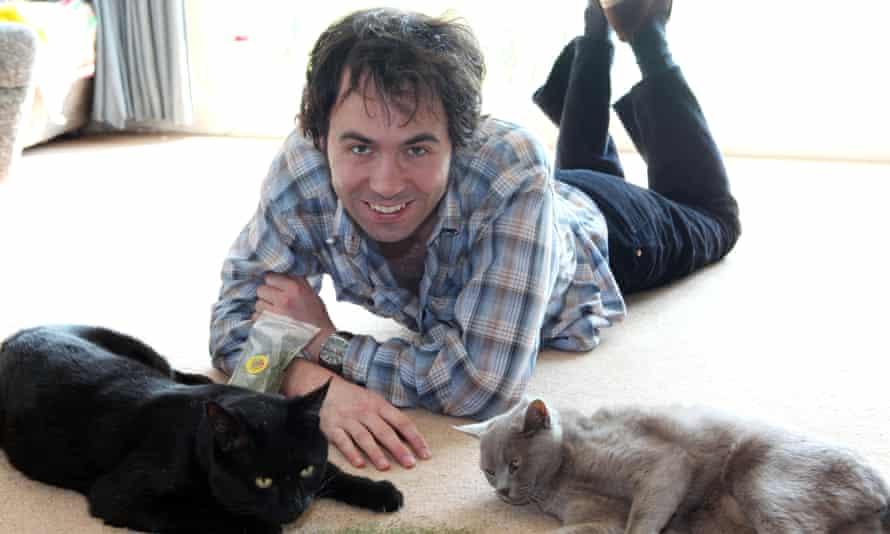Tom Cox in Norfolk with feline friends.