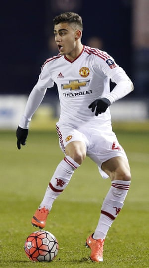 Andreas Pereira in action against Shrewsbury Town.