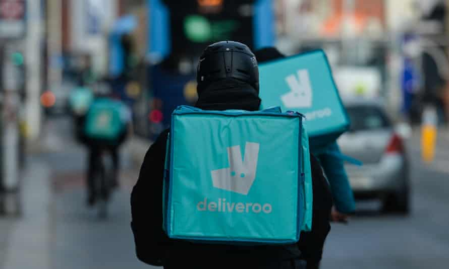 Deliveroo couriers in Dublin city centre