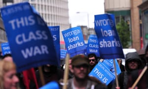 Protesters demonstrate against British payday loan company Wonga in central London in 2014.