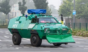 An armoured police truck in Frankfurt during the evacuation of about 60,000 people after the discovery of the unexploded bomb.