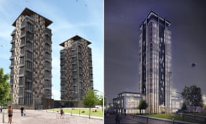 'No more second best' … the proposed residential towers, left, and the Boho X tech office block.