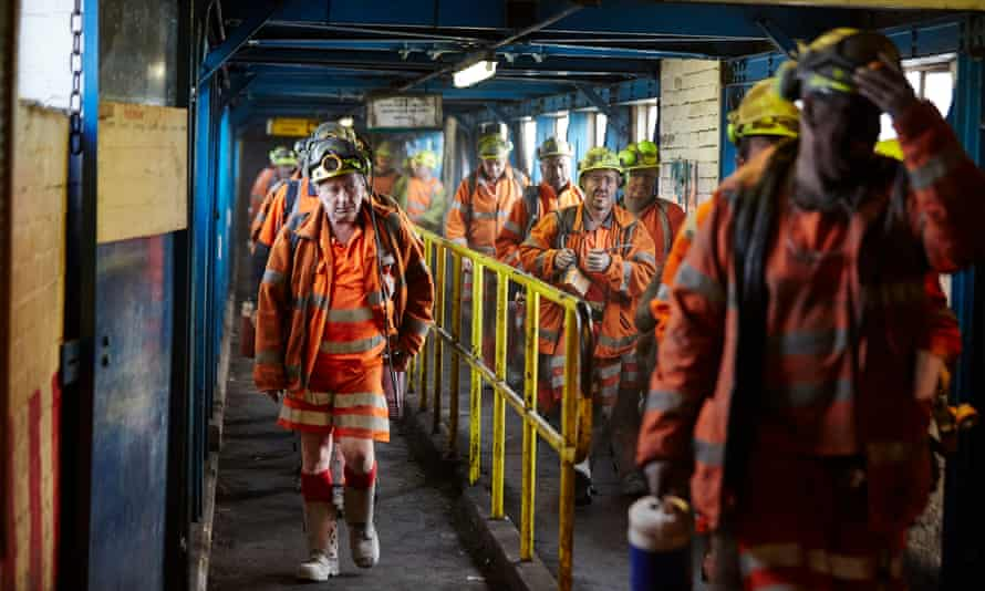 Workers at Kellingley colliery in Yorkshire before it closed in 2015