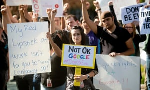 "A ""Women's Walkout"" at Google in protest over payout to Android chief Andy Rubin<br>Google employees stage a ""women's walkout"" at their Googleplex offices in protest over the company's handling of a large payout to Android chief Andy Rubin as well as concerns over several other managers who had allegedly engaged in sexual misconduct at the company in Mountain View, California, U.S., November 1, 2018. REUTERS/Stephen Lam"