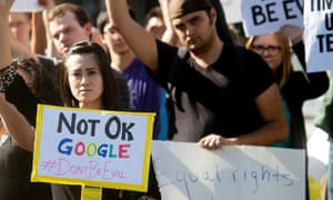 Workers protest against Google's handling of sexual misconduct allegations last year.