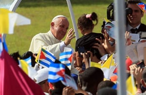 Pope Francis greets the crowds in Holguin, Cuba, last September.