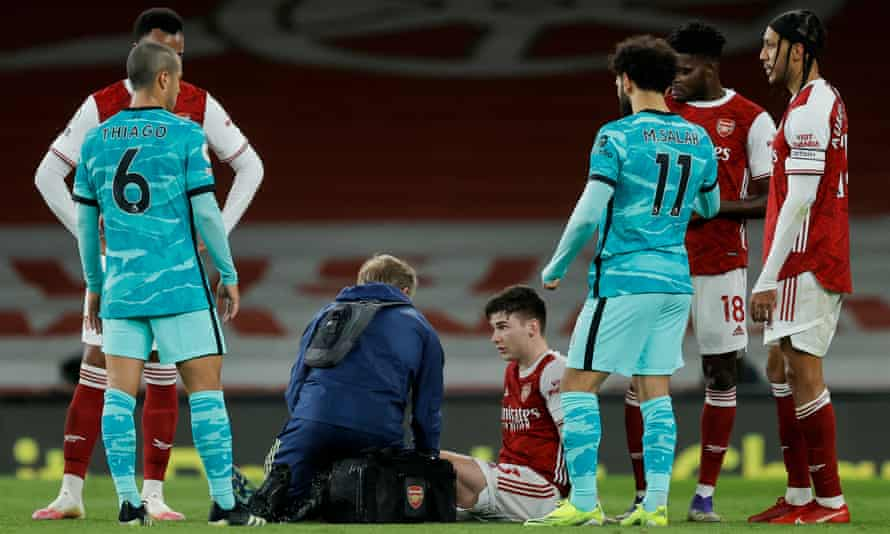 Kieran Tierney receives treatment during Arsenal's defeat by Liverpool last Saturday.