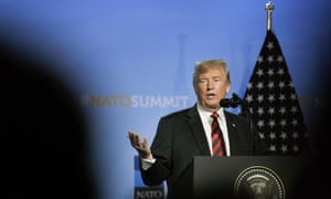 Donald Trump speaks during a press conference on the second day of the Nato summit in Brussels, Belgium, on Thursday.