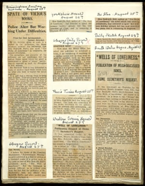 Hall's scrapbook of clippings about the suppression and censorship of The Well of Loneliness, 1928.