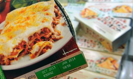 Prepared pasta meals in frozen foods section