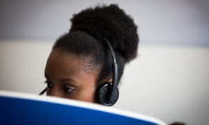 Woman working in a call centre