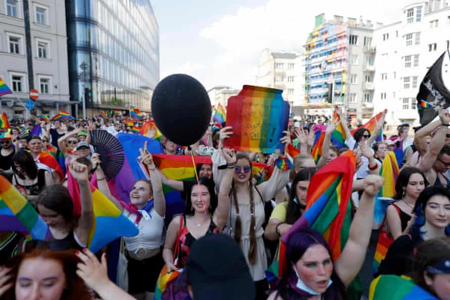 People march through Warsaw