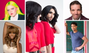 Clockwise from top left - Alma, Conchita Wurst, Henning Wehn, Carlos Acosta, Oti Mabuse
