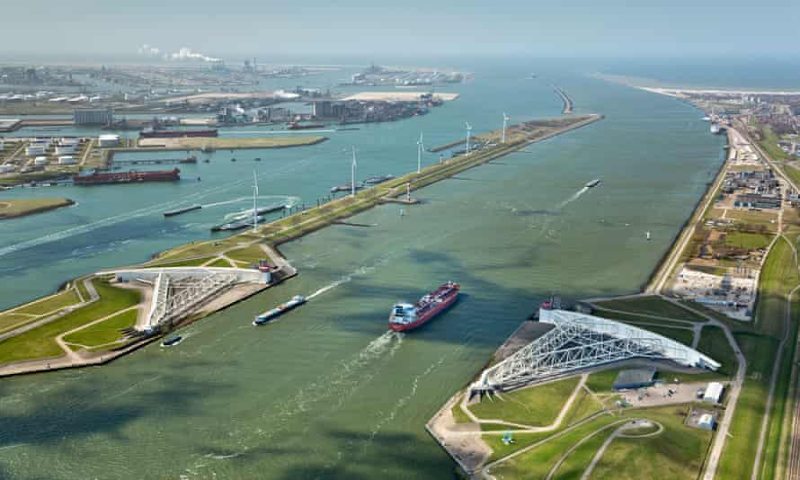 The Maeslant barrier at the Port of Rotterdam