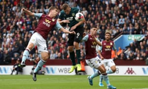 Chris Wood scores Burnley's second goal against Aston Villa.