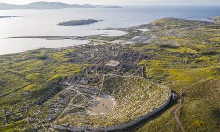 The sacred island of Delos, Greece.