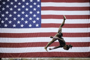 Simone Biles competes in the beam during the senior women's competition at the 2019 US Gymnastics Championships in Kansas City