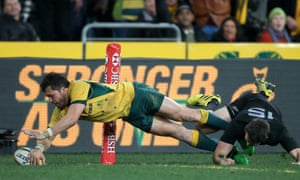 Adam Ashley-Cooper puts the Wallabies in front.