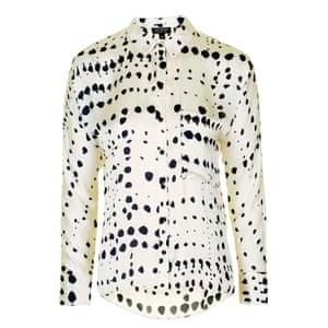 dalmation spot print shirt, white black