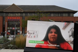 A Greenpeace protest outside Tesco headquarters, featuring a video of Brazil indigenous leader Sônia Guajajara talking about the devastating Amazon fires.