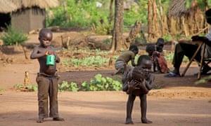 Refugee children from South Sudan at Bidi Bidi settlement camp, north Uganda
