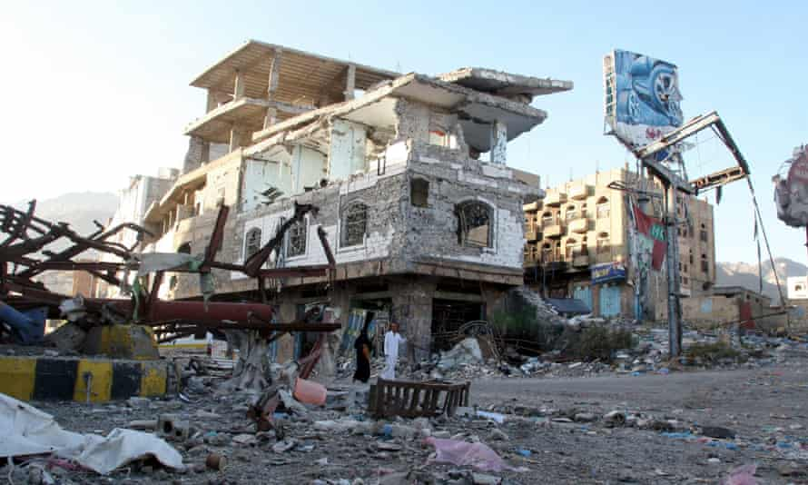 A building destroyed during recent fighting in Yemen's southwestern city of Taiz.