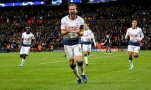 Harry Kane celebrates Spurs' winner.
