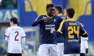 Verona's Moise Kean celebrates after scoring his side's second goal against Milan.
