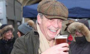 Nigel Farage drinks a pint