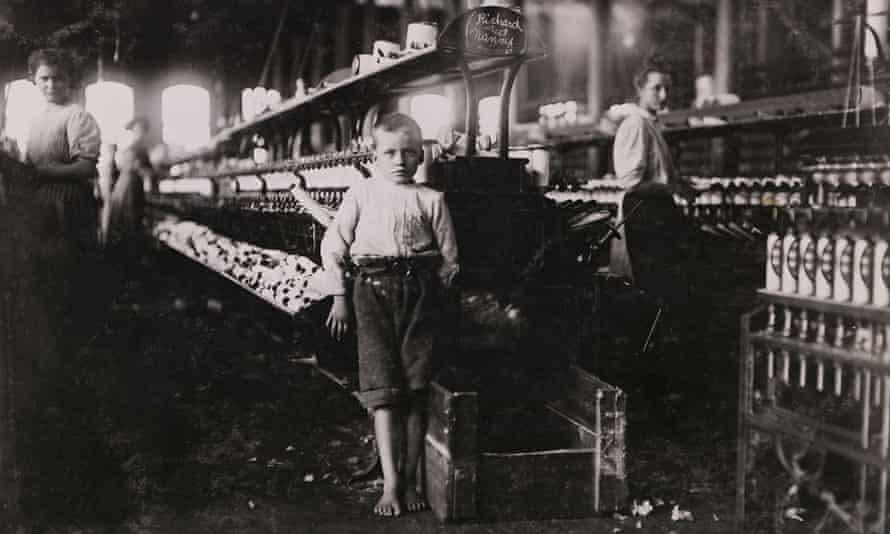 boy in a Victorian era yarn factory