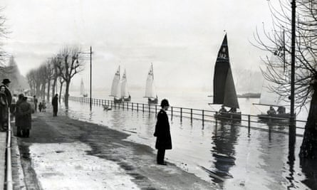 The River Thames at Putney in west London during the flood of 1953.