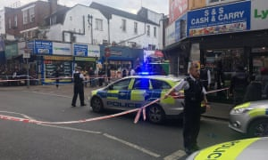 The scene in Peckham Rye where a man in his 20s has been stabbed to death.