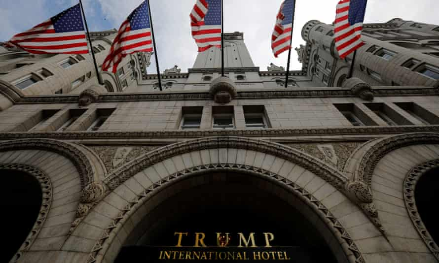 US flags fly over the Trump International Hotel in Washington.